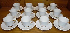 12 Rorstrand Sverige 492 Ribbed w/ Gold Accent Demitasse Cup & Saucer Sets