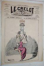 LE GRELOT 1874 ALFRED LE PETIT LA FEMME HERCULE CARICATURE JOURNAL SATIRIQUE