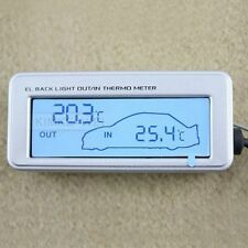 Indoor Out LCD Car Thermometer Blue Backlight Sliver