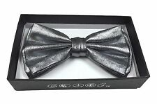 BEYONDFASHION MEN WOMEN NECKWEAR TUXEDO ADJUSTABLE BOW-TIE METALLIC SILVER