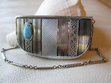 Antique Art Deco Silver T Robin Egg Blue Guilloche Enamel Compact ELGINITE EAM