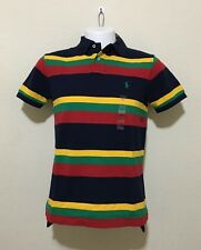 POLO RALPH LAUREN MEN CUSTOM FIT  STRIPED POLO SHIRT - SMALL / NAVY MULTI