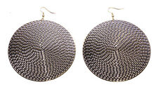Large 8cm Hippy Groovy Black / Gold Rustic Chunky Circle Spiral Earrings(Zx70)