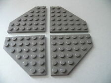 Lego 4 ailerons gris fonces set 6969 7161 7190 9380 / 4 old DG plate wedge