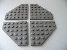 Lego 4 ailerons gris fonces set 6969 7161 7190 9380 / 4 old DG plate wedge