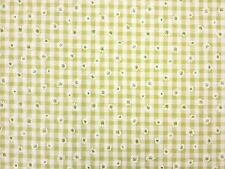 DAISY GINGHAM LIME GREEN FLORAL CHECK DRESSMAKING CRAFT CURTAIN FABRIC C4594