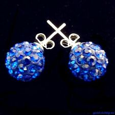 Shamballa Ohrstecker blau (Ohrringe Ohrhänger Damen Schmuck Silber Zirkonia) NEU
