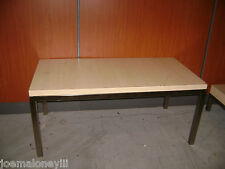 RETAIL DISPLAY CONTEMPORARY TABLE BLONDE LIGHT COLOR WOOD LAMINATE & STEEL TABLE