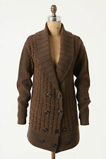 Anthropologie Tuzla Sweater Jacket Size XS, Copper Brown Cardigan By Leifsdottir