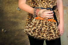 Vintage inspired leopard print faux fur clutch bag faux lucite frame clutch bag