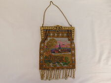 ANTIQUE GLASS BEADED PURSE IDYLLIC CHURCH DOUBLE SIDED DESIGN BEAUTIFUL INTERIOR