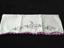 Vintage Embroidered Purple Flowers Pillowcase with Crocheted Trim