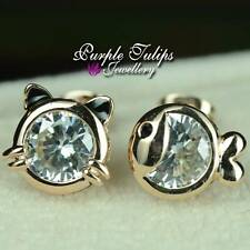 18CT Rose Gold Plated Cute Cat& Fish Stud Earrings W/ Genuine Swaroski Crystals