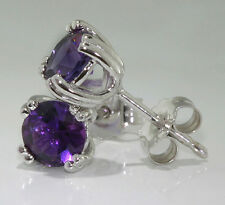 14k White Gold Stud Earrings 8-Prong Set 5mm Round Amethyst
