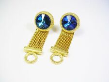 DANTE CUFF LINKS WRAP AROUND CUFFLINKS BLUE VOLCANO RIVOLI GLASS FORMAL WEAR