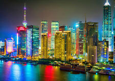 COLORFUL SHANGHAI NEW A1 CANVAS GICLEE ART PRINT POSTER
