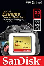 32GB SanDisk Extreme CF Compact Flash Memory Card 85MB/s Write 120MB/s Read