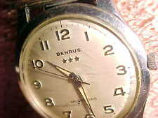 36mm BENRUS BIG HEAD 1950s AUTOMATIC WATCH - FULL STAINLESS CASE - 3-STAR CROWN