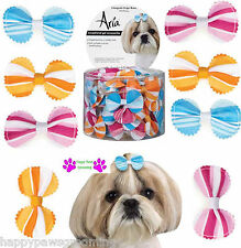 "LOT 100 pc Pet  DOG""GROSGRAIN STRIPE""Grooming HAIR RIBBON BOW w/ELASTIC BAND"