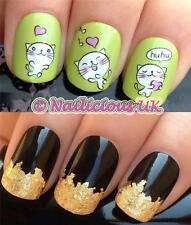 NAIL ART SET #45. KAWAII CATS/HEARTS WATER TRANSFERS/DECALS/STICKERS & GOLD LEAF