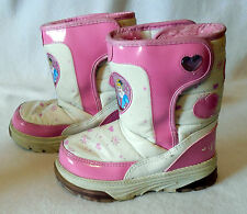DISNEY PRINCESS Girls Youth size 11 WINTER SNOW BOOT pink hearts Y337