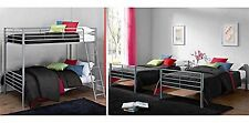 Metal Bunk Beds Twin Over Twin Kids Bedroom Bed Dorm Furniture Ladder Silver New