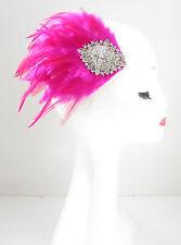 Sexy Rose & Argent Plume Bandeau De Bibi Courses Diamant Pince Cheveux Vtg Y42