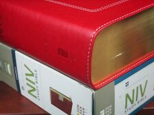 ** NIV 2011 Study Bible Compact -  RED Leathersoft - NEW !!   Zondervan 390