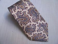 CHRISTIAN DIOR Neck Tie Blue Tan & Burgundy Paisley on Light Gray 100% Silk VTG