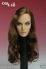 1/6 female girl custom Angelina Jolie Head fit phicen hot toys kumik cy zc body