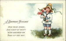 Birthday Greeting Child Outside Flowers Hat Message Embossed c1910 Postcard