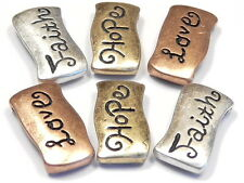 6 - 2 HOLE SLIDER BEADS BRASS SILVER COPPER FAITH HOPE LOVE INSPIRATIONAL BEADS
