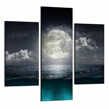 Framed Canvas Prints White Moon Wall Art Canvas Painting For Living Room-3Pcs