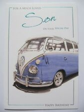FANTASTIC COLOURFUL VW CAMPER FOR A MUCH LOVED SON BIRTHDAY GREETING CARD