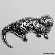 Sea Otter Pewter Pin Brooch - British Hand Crafted -River, Marine Animal Aquatic