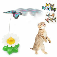 Lovely Electric Rotating Butterfly Rod Cat Teaser Play Toy Pet Cat Kitten Toys