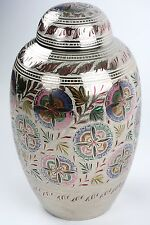 Silver, Colorful Flowers - Brass Funeral Cremation Urn,  Adult, 200 cubic in.