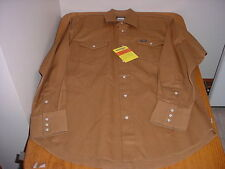 NWT MEN'S 2XLT XX-LARGE TALL LS WRANGLER BROWN WESTERN SHIRT (COWBOY CUT)