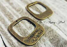 Quote Charms Pendants DREAMING OF THE SEA Antiqued Bronze Nautical Charms Ocean