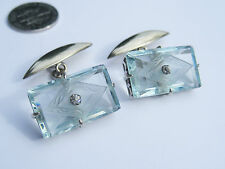 Antique Edwardian Art Deco Sterling Silver Gold Cut Crystal Rhinestone Cufflink