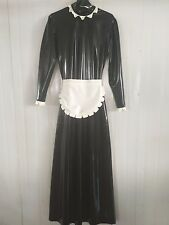 Latex Rubber Fashion Black and White Skirt Maid Dress Size XS~XXL