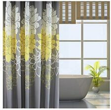 Bathroom Gray Yellow Floral Waterproof Polyester Grommet Shower Curtain 72 x 78