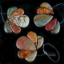 Teardrop Picasso Jasper Gemstone Loose Beads Pendant Set Jewelry Crafts Findings