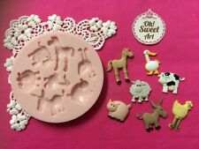 Animals Farm silicone mold fondant cake decorating food soap cupcake topper FDA