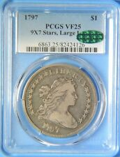 1797 9x7 Stars Large Letters Draped Bust Early Silver Dollar $1 PCGS VF25 CAC