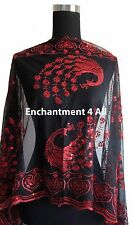Elegant Oblong Lace Peacock Art Scarf Wrap w/ Sequin Black/Red