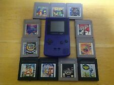 Nintendo Game Boy Color Purple Console Bundle w/ 11 Games