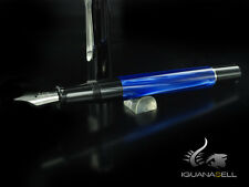 Pelikan Classic M205 Fountain Pen, Blue Marble, Chrome trim, 801973, EF