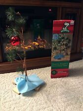 Charlie Brown Christmas Tree 18 inches + Linus Blanket Red Bulb & Orig Box EUC