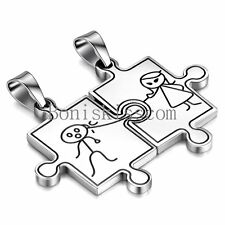 His and Hers Silver Stainless Steel Puzzle Piece Love Pendant Necklaces 2 Pcs